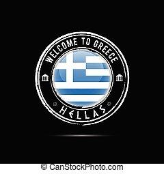 grunge, 고무 도장, 와, 그리스, 아이콘, 삽화, 통하고 있는, 검은 배경