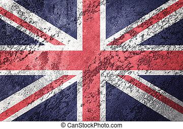 grunge, 대 브리튼 섬, flag., 영국 국기, 기, 와, grunge, texture.