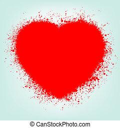 grunge, 떼어내다, 심장, 와, 빨강, splash., eps, 8