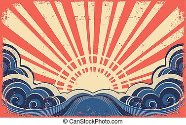 grunge, 떼어내다, image., 포스터, sunscape