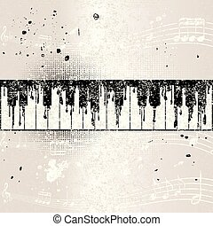 grunge, 뮤지컬, 배경, 와, 떼어내다, 피아노