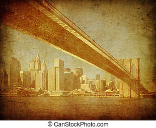 grunge, 미국, 심상, 부루클린, 뉴욕, 다리