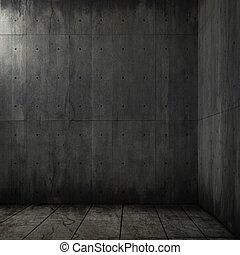 grunge, 배경, 의, 콘크리트, 방, 구석