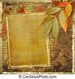 grunge, 서류, 디자인, 에서, scrapbooking, 스타일, 와, 잎, 와..., 공백, 치고는, 원본