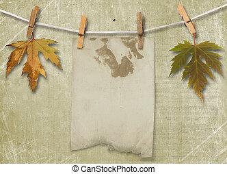 grunge, 서류, 디자인, 에서, scrapbooking, 스타일, 와, 잎