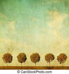 grunge, 심상, 의, 나무