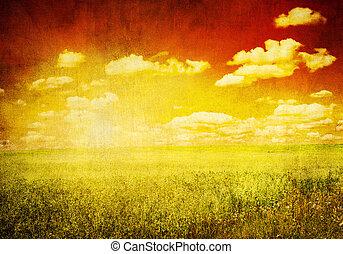 grunge, 심상, 의, 녹색 분야, 그리고 푸른색, 하늘