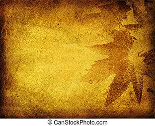 grunge, 잎, 배경, 와, 공간, 치고는, 원본, 또는, 심상