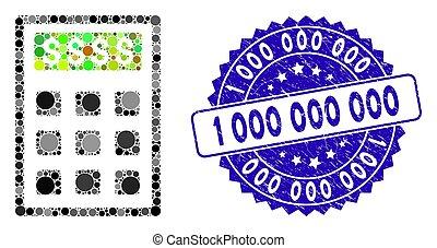 grunge, 1, collage, icône, 000, timbre, calculatrice, comptabilité
