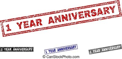 Grunge 1 YEAR ANNIVERSARY Scratched Rectangle Watermarks