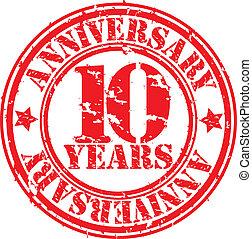 grunge, 10, anni, anniversario, gomma