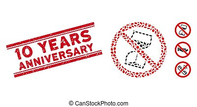 Grunge 10 Years Anniversary Line Seal with Mosaic No Hourglass Icon
