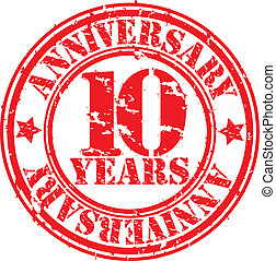 Grunge 10 years anniversary rubber stamp, vector