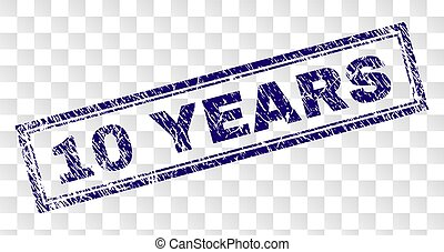 Grunge 10 YEARS Rectangle Stamp