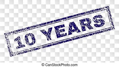 Grunge 10 YEARS Rectangle Stamp