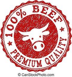 Grunge 100% BEEF PREMIUM QUALITY Stamp Seal