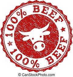 Grunge 100% BEEF Stamp Seal