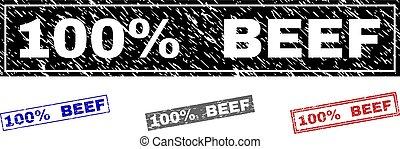 Grunge 100% BEEF Textured Rectangle Watermarks