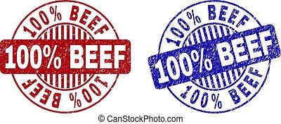 Grunge 100% BEEF Textured Round Watermarks