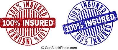 Grunge 100% INSURED Scratched Round Stamps