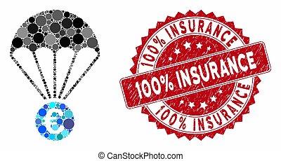 grunge, 100%, parachute, euro, cachet, mosaïque, assurance