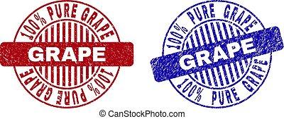 Grunge 100% PURE GRAPE Textured Round Stamp Seals