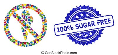 Grunge 100% Sugar Free Stamp and Bright Colored Collage Forbidden Ice-Cream