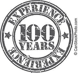 Grunge 100 years of experience rubber stamp, vector...