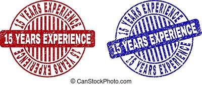 Grunge 15 YEARS EXPERIENCE Textured Round Stamps