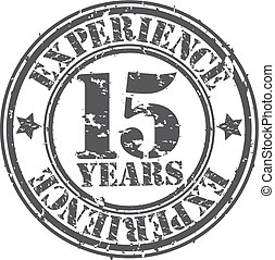 Grunge 15 years of experience rubber stamp, vector...
