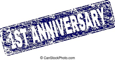 Grunge 1ST ANNIVERSARY Framed Rounded Rectangle Stamp