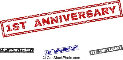 Grunge 1ST ANNIVERSARY Scratched Rectangle Watermarks