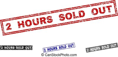Grunge 2 HOURS SOLD OUT Scratched Rectangle Stamp Seals