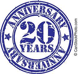 Grunge 20 years anniversary rubber stamp, vector