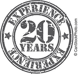 Grunge 20 years of experience rubber stamp, vector...