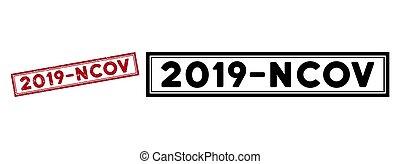 Grunge 2019-Ncov Rectangular Frame Stamp
