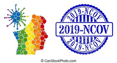 Grunge 2019-Ncov Stamp Seal and Rainbow Coronavirus Mad Man Collage Icon of Circles