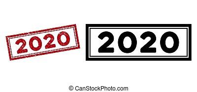 Grunge 2020 Rectangle Frame Seal