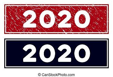 Grunge 2020 Rectangle Stamp Seal
