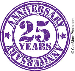 Grunge 25 years anniversary rubber stamp, vector
