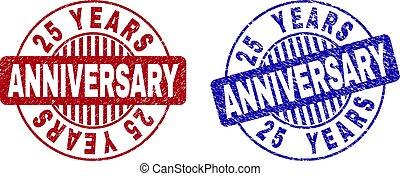 Grunge 25 YEARS ANNIVERSARY Textured Round Stamps