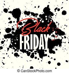 grunge, 2708, fredag, försäljning, svart fond