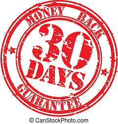 Grunge 30 days money back guarantee rubber stamp, vector