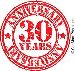 Grunge 30 years anniversary rubber stamp, vector