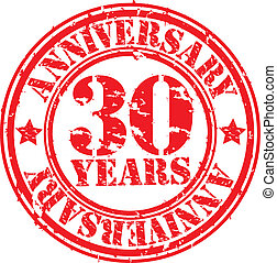 Grunge 30 years anniversary rubber stamp, vector