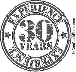 Grunge 30 years of experience rubber stamp, vector...