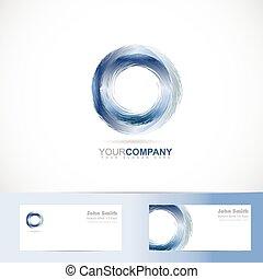 Grunge 3d circle blue logo