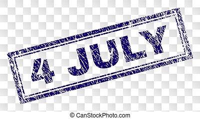 Grunge 4 JULY Rectangle Stamp - 4 JULY stamp seal imprint...