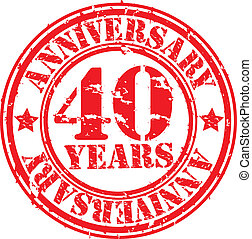Grunge 40 years anniversary rubber stamp, vector