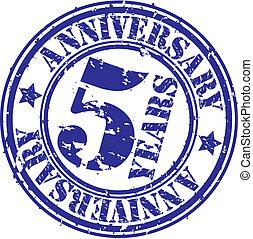Grunge 5 years anniversary rubber stamp, vector
